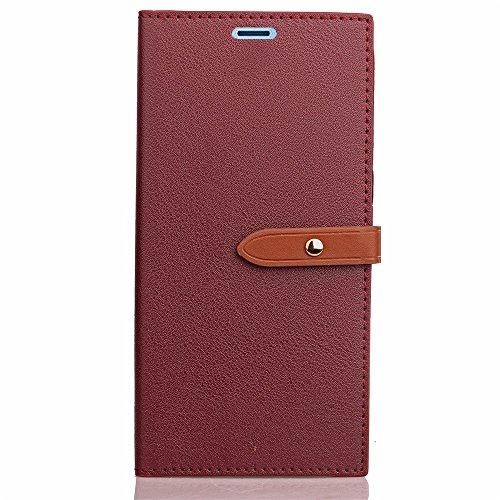 Business Style Mixed Farben Slim Design PU Ledertasche Brieftasche Stand Case [Shockproof] mit Niet Echtes Leder Gürtelschnalle & Kickstand & Card Slots für Sony Xperia XZ & XZs ( Color : Rose ) Wine
