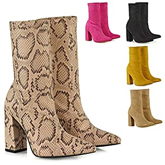 - 5130lzSMe1L - Womens High Block Heel Booties Ladies Stretchy Pull On Pointed Toe Sock Boots Shoes