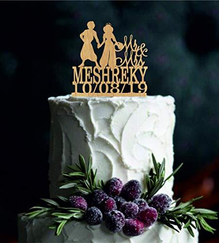 Hochzeitstortenaufsatz, Aladdin und Jasmin, mit Herz-Dekor, Disney-Kuchenaufsatz, personalisierbar