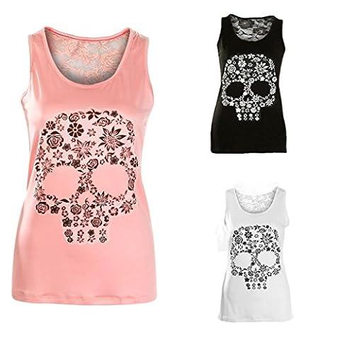 DOLDOA Women Skull Print Vest Tank Tops Lace Back Shirt (10-12, Pink)