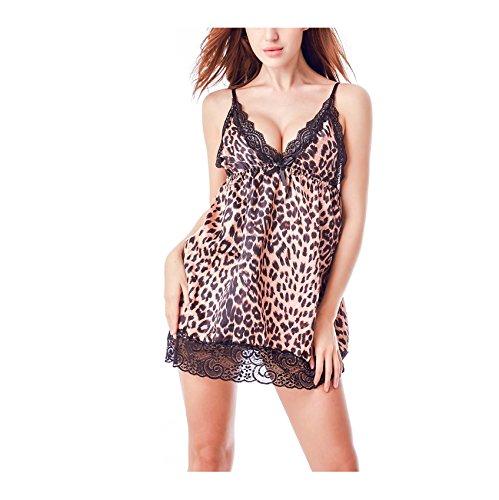 FuweiEncore Frau Kurzarm Kleid Pyjama V-Ausschnitt Leoparden Print Sexy Chic Plus Größe (Farbe : Leopard, Größe : 2XL) (Kleid Leoparden-print Sexy)