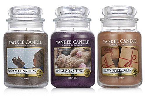 Rare Official Yankee Candle My Favorite Things Set Of 3 Classic Signature Large Jars - Warm Woolen Mittens, Whiskers On Kittens, Brown Paper Packages