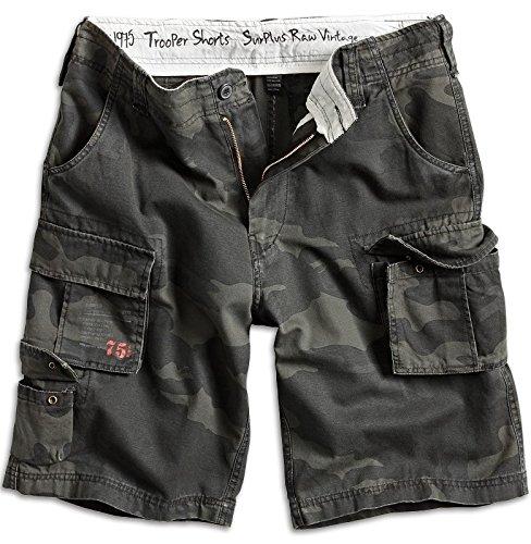 Surplus Trooper Cargo Shorts Vintage Hose Bermuda Short Pantalón Corto, (Blackcamo), S para Hombre
