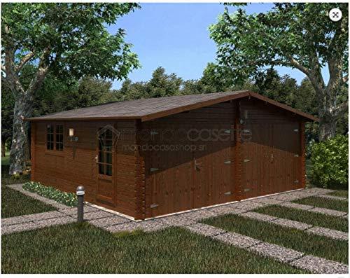 Mondocasette casa casetta in legno da giardino - modello garage spessore pareti 45mm 600x600cm, box auto ripostiglio