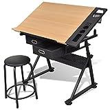 Anself Schreibtisch Zeichentisch mit Schubladen und Hocker höhenverstellbar Schwarz
