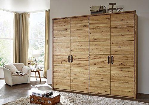 Armoire/Penderie 244x60x219cm - Bois massif de chêne sauvage huilé - Design rustique - JANGALI #953
