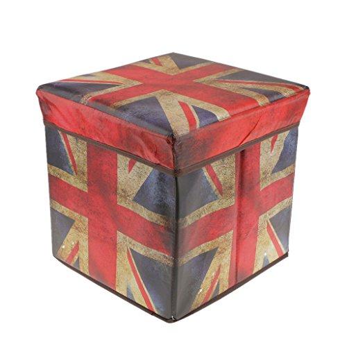 monkeyjack Vlies Stoff Aufbewahrungskorb, zusammenklappbar Hocker Ottoman Cube Aufbewahrungsbox Union Jack (Sitz Speicher-cube)