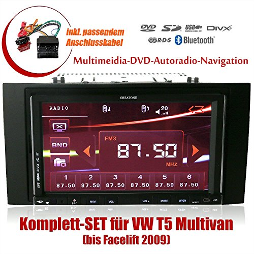 2DIN Autoradio CREATONE CTN-9268D56 für VW T5 Multivan (bis Facelift 2009) mit GPS Navigation, Bluetooth, Touchscreen, DVD-Player und USB/SD-Funktion