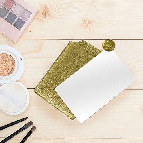 Edge Schreibtisch Shell (Tragbare kosmetische Make-up rechteckige Tasche Edelstahl-Spiegel, Edelstahl Make-up-Spiegel für Geldbörse Handtasche Reise)