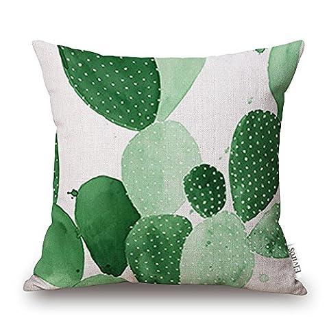 Elviros Linen Cotton Blend Decorative Cushion Cover Throw Pillow Case 18x18 inch Cactus