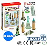 PUZZLE 3D MINI 8 GEBÄUDE 60 PIECES GAME MODEL TOWER STATUE WUNDER 627 549