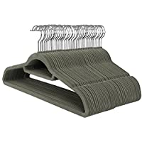 SONGMICS Velvet Hangers, 50 Pack, Non-Slip Clothes Hangers, 0.6 cm Thickness, Space Saving, 360° Swivel Hooks, 45 cm Wide, for Coat, Jacket, Shirt, Dress, Trousers