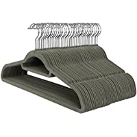 SONGMICS Velvet Hangers, 50 Pack, Ultra Thin Space Saving Non-Slip Coat Hangers with Tie Organizer, 360 Degree Swivel Hook, Grey CRF50V