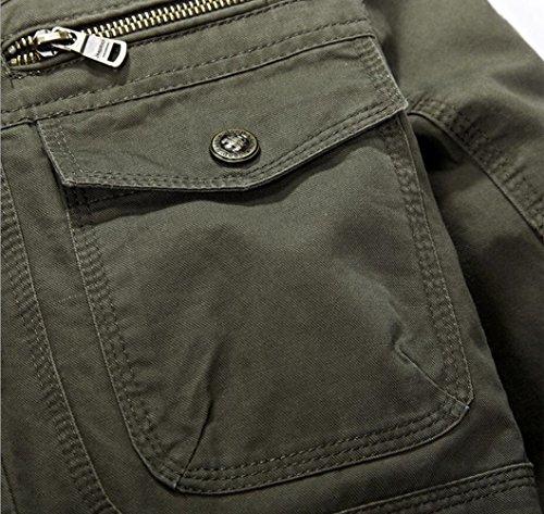 Herren Army Militär Jacke Baumwolle Parka Übergangs Herbst Classic Multi-Pocket Cargo Style Jacke Mäntel Schwarz