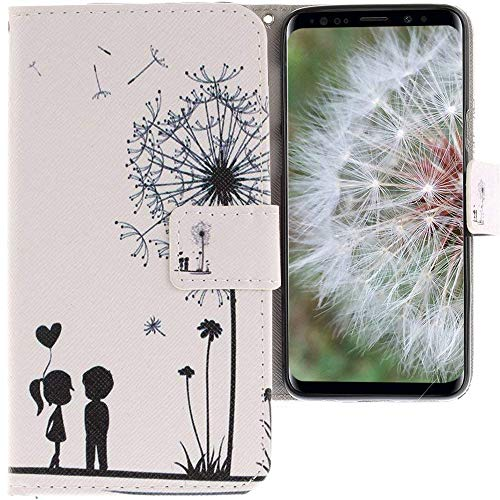 CLM-Tech kompatibel mit Samsung Galaxy S9 Hülle, Tasche aus Kunstleder Pusteblume weiß schwarz, PU Leder-Tasche für Galaxy S9 Lederhülle