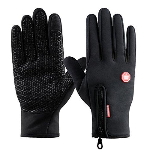 Kungber Guantes de Pantalla Táctil para Mujer y Hombre de Invierno Caliente Guantes con Gel Antideslizante de Silicona para Conducción Ciclismo Alpinismo Moto al Aire Libre Teléfono/Tablet Negro
