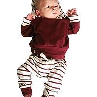 Moonuy La ropa infantil del bebé del niño de la manga del algodón 2pcs de la manera larga fijó los Hoodies rayados de la tapa del Hoodie + de los pantalones (Red, 70)