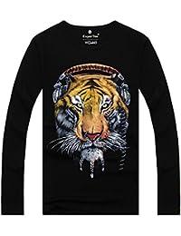 Herren Jungen Schlüler Langärmeliges 3D Tiger Tshirt