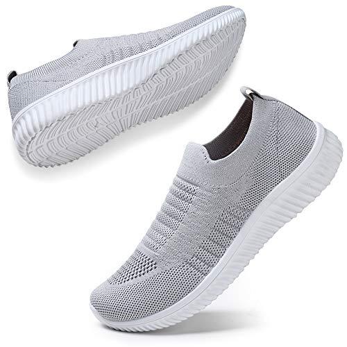 STQ Damen Mesh Slip On Sneakers Walking Outdoor Gym Bequem Leichte Atmungsaktiv Freizeitschuhe(Grau35)