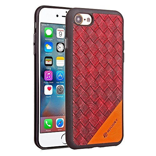 Frosted Weaving Texture Back Cover Soft Ultra Thin Slim Shell Cover Case mit Galvanisierungsknopf für iPhone 7 ( Color : Black ) Red
