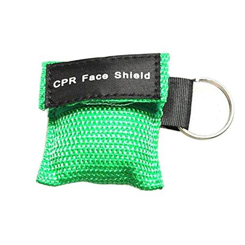 WFZ17Gesichtsmaske für Erste Hilfe/ Mund-zu-Mund-Beatmung, mit Schlüsselanhänger grün