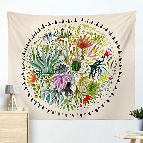 xkjymx Hängende Wandbehang dekorative Tapisserie Kaktus Tapisserie Strandtuch Kissen R005-B 200 * 150cm (Sahne Quadratischen Tischdecken)