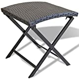 vidaXL Stool Black Poly Rattan Foldable Outdoor Garden Patio Counter Chair