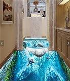 Chlwx 350cmX240cm (137.8inX94.214in) 3D-Pvc Bodenbeläge Foto Bild Wandbild Wandaufkleber Schönen Wasserfall Meeresboden Malerei Zimmer Wallpaper Für Wände 3 D