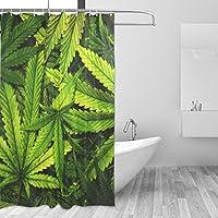 WENEOO LA Shower Curtain Polyester Print 60 W x72L Inches Green Weed Cannabis Bud Marihuana Plants Marijuana Sativa Hemp Indica Grow Farm Bathroom