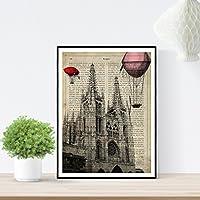 Lámina ciudad de BURGOS. Estilo Vintage. Ilustración, fotografía y collage con la HISTORIA DE BURGOS. Poster tamaño A4 impreso en papel 250 gramos y tintas de alta calidad.