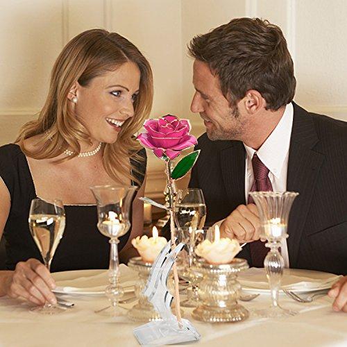 Tischdeko : 24K Gold Rose, Magicpeony Echte Rose mit Echtem Grünen Blatt