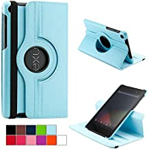 COOVY® Funda para Google ASUS Google Nexus 7 (2. Generation Model 2013) SMART 360º GRADOS ROTACIÓN COVER CASE PROTECTORA SOPORTE | Color azul claro