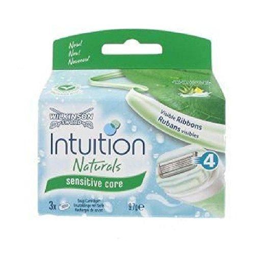 4x Wilkinson Intuition Naturals Sensitiv Care 3 Rasierklingen mit Seife und Aloe