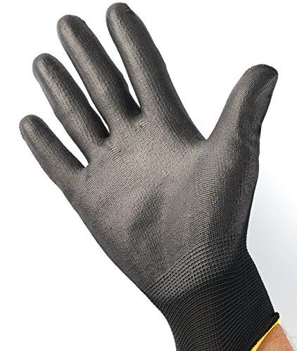 12 Paar Arbeits-Handschuhe von ISC H&S, Nylon, PU-beschichtet | verfügbar in S small (7), M medium (8), L large (9), XL x-large (10), XXL xx.large (11) | nahtlos, vielseitig