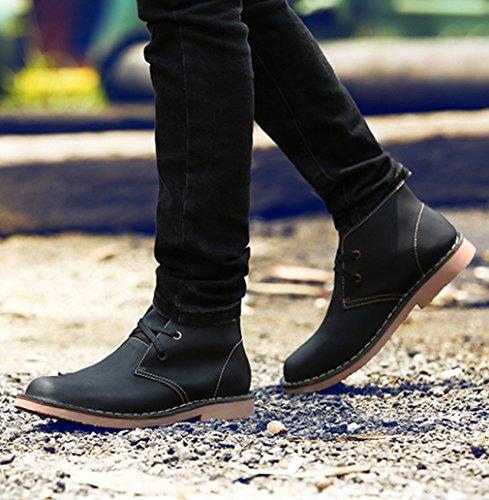 Automne-Hiver Hommes Chaussures avec Duvet Martin de Bottes en Microfibre Bout Rond Chaussures à Lacet Loisirs Mode Noir