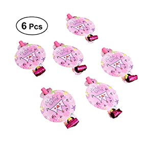 BESTOYARD Bloodouts Noise Maker Whistles Spielzeug Neuheit Party Requisiten Kinder Kinder Party Favors Supplies 6 STÜCKE (Rosa Krone)