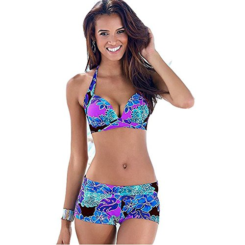 AHOOME tankinis Damen tankini push up Bademode Tops und Shorts Bikini-Sets große größen( Violett,3XL) (Bikini-tops Große)