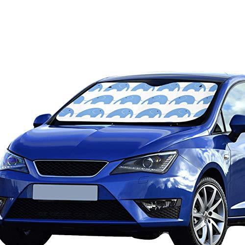 Sombrilla para el sol Lindo elefante azul largo Nariz larga Visera solar Ajuste universal Mantener el vehículo fresco Refresco de calor Sedanes Camión todoterreno 55 'x30' Sombrilla para automóvil
