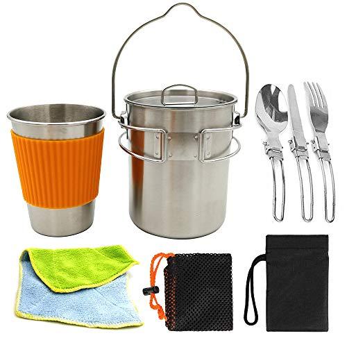 SOBER Camping Kit Batterie De Cuisine,Tasse Suspendue en Acier Inoxydable,RandonnéE Cuisine Plein Air Équipement Multifonctionnel
