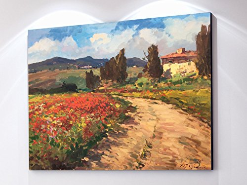 tuscan-chianti-country-wall-art-tuscany-italy-artwork-landscape-canvas-prints-poppies-trees-cypress-