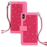 QC-EMART Housse pour iPhone XR Coque en Cuir Rose Briller Paillette Portefeuille Porte-Cartes Portable Pochette Étui à Rabat de Protection Antichoc Clapet Integrale Case Cover