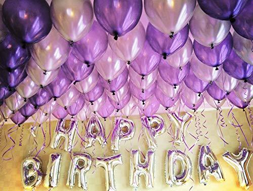 HorBous Paquete de 100 globos de decoración para fiestas de cumpleaños y globos de letras «Happy Birthday»