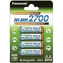 Panasonic BK-3HGAE/4BE - Pilas AA NI-MH 2700 recargables de gran capacidad (2.500 mAh, 4 unidades)