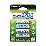 Panasonic High Capacity, Akku Ni-MH 2700, AA Mignon, 4er Pack, min. 2.500 mAh, Hochkapazitäts-Akku mit extrastarker Leistung