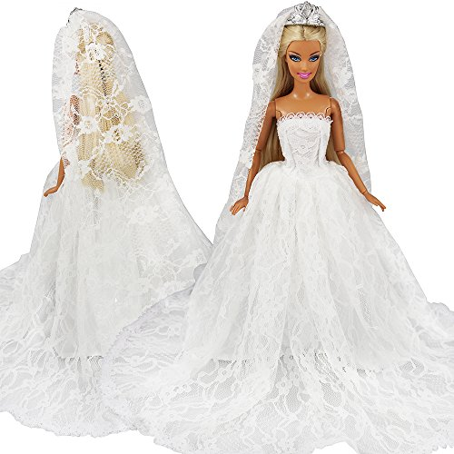 Miunana Abendkleid Hochzeitskleider Braut Prinzessinnen Kleidung Kleider mit Brautschleier für 11,5 Zoll Mädchen Puppen Xmas Weihnachten Geschenk