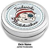 Milchzahndose | Pirat Pepe | personalisiert mit Namen | aus Metall | für Mädchen und für Jungs | Geschenk zur Einschulung, Taufe, Geburt