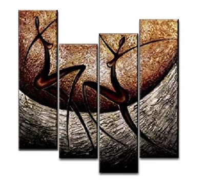 Wieco Art - Stretched and Framed 100% Hand-painted Modern Canvas Wall Art Decor Free Shipping African Dancer Home Decoration Abstract Oil Paintings on Canvas 4pcs/set - low-cost UK light store.