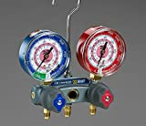 Yellow Jacket 49887 Titan 2-Valve Test and Charging Manifold degrees F, psi Scale, R-22/134A/404A Refrigerant, Red/Blue Gauges by Yellow Jacket