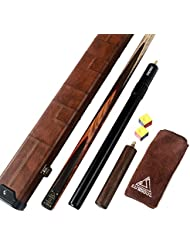 "CUESOUL 57"" 18oz 1-Piece Handmade Snooker Tacos with Aluminum Telescope Extension & Case"