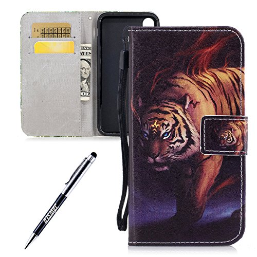 iPhone X Custodia, iPhone X Custodia Pelle, iPhone X Custodia Portafoglio, JAWSEU Pittura Colorata Creativo Lusso PU Leather Flip Cover Custodia per iPhone X Protectiva Bumper con Morbida Gel Silicone Tigre